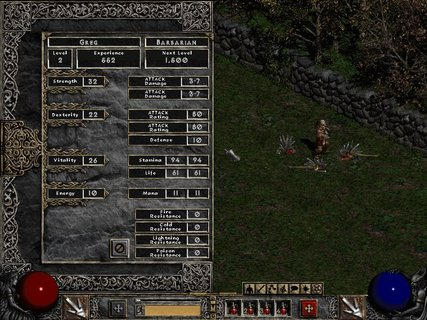 Diablo 2 Barbarian Stat Sheet Level Up