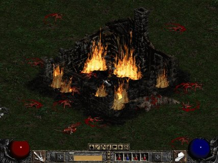 Diablo 2 House On Fire Bloody Dead Demons