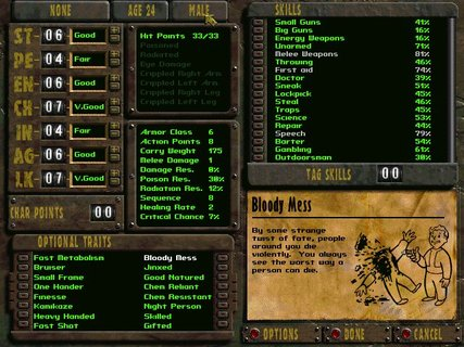 Fallout Character Creation Bloody Mess