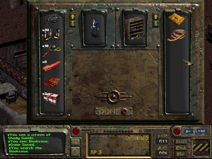 Fallout Shady Sands Bookcase Inventory Rope