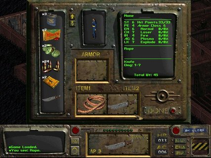 Fallout Vault 15 Inventory Rope