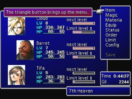 Final Fantasy 7 Menu Screen Cloud Barret Tifa