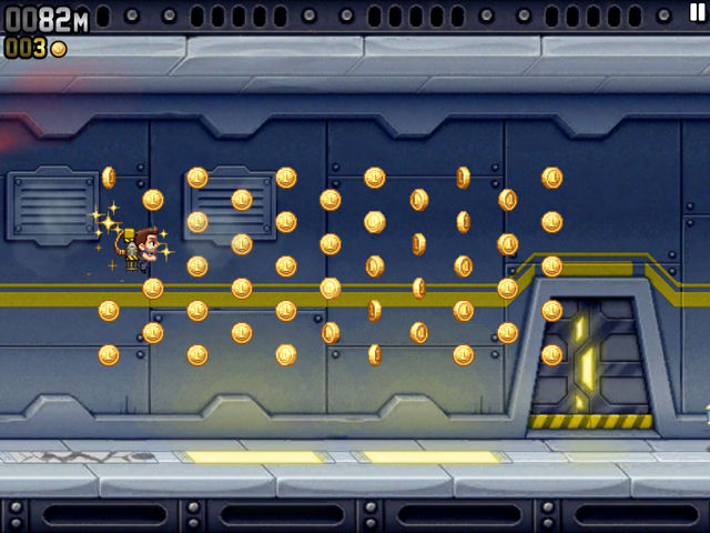 Jetpack Joyride Collecting Coins