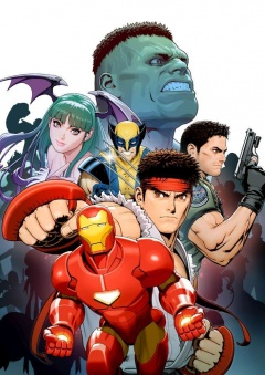 Marvel vs Capcom 3 art Iron man ryu Morrigan Wolverine Hulk