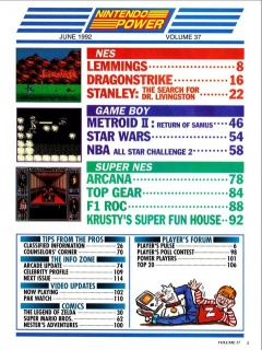 Nintendo Power 37 Contents