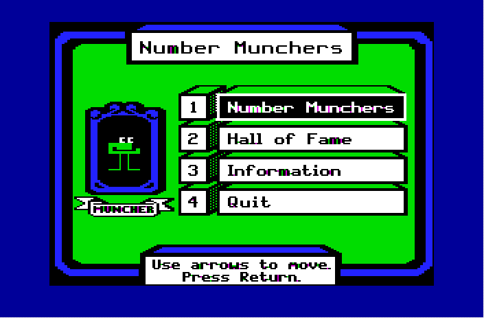 Number Munchers 02 Title  Menu
