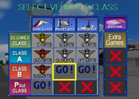 Pilotwings 64 Level Select
