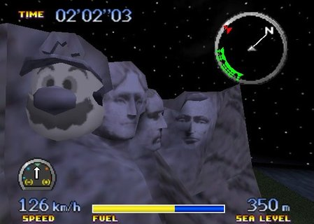 Pilotwings 64 Mount Rushmore Mario