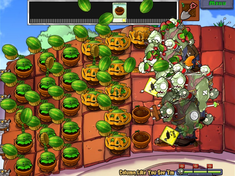 Plants vs Zombies 03 Roof Gargantuar Battle