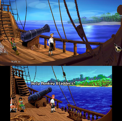 Secret of Monkey Island Special Edition Before After