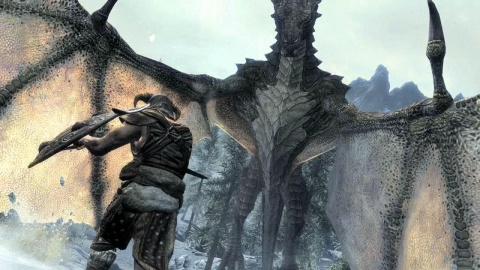 Skyrim Huge Dragon Battle