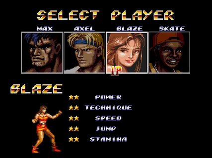 Streets Of Rage 2 Character Select
