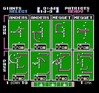 Tecmo Super Bowl Giants Patriots Playbook