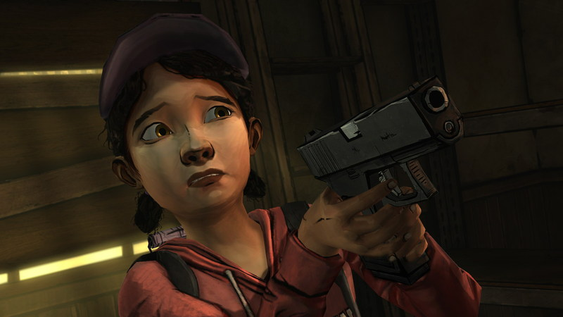 the Walking Dead Long Road Ahead Clementine gun Train