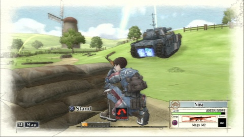 Valkyria Chronicles Crouching in Battle